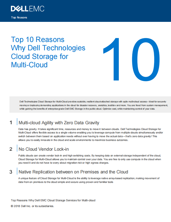 Top 10 Reasons  Why Dell Technologies Cloud Storage for  Multi-Cloud (MY).pdf