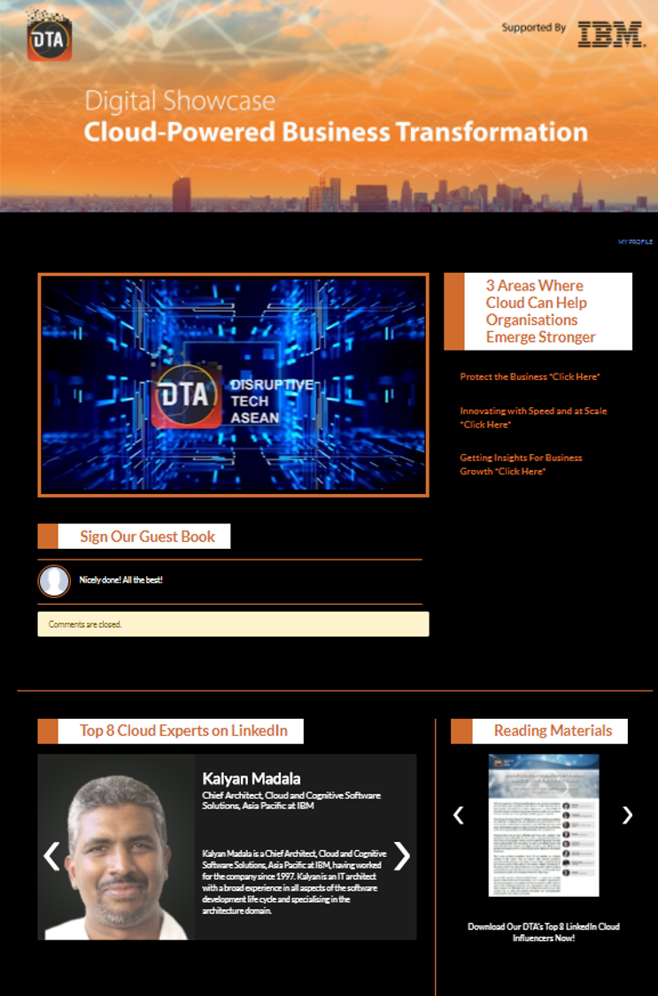 DTA Digital Showcase : Cloud Powered Business Transformation Supported By IBM.