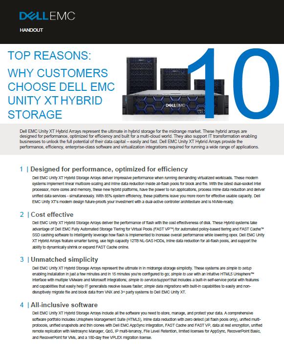 TOP REASONS: WHY CUSTOMERS CHOOSE DELL EMC UNITY XT HYBRID STORAGE -SG.pdf
