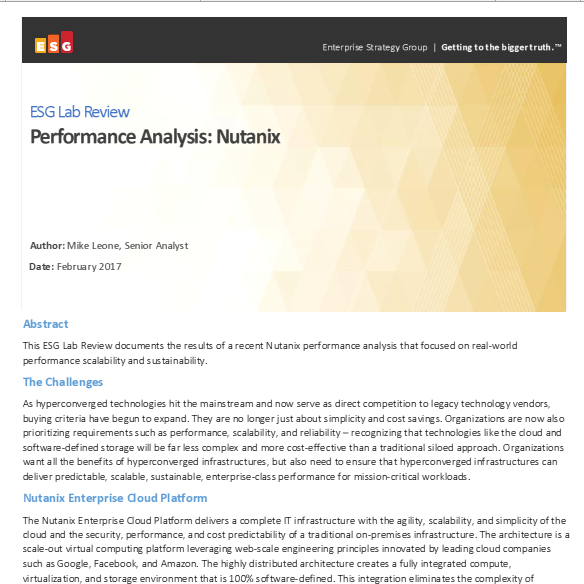 ESG Lab Review, Performance Analysis: Nutanix.pdf