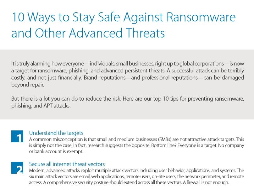 10 Ways to Stay Safe Against Ransomware and Other Advanced Threats.pdf