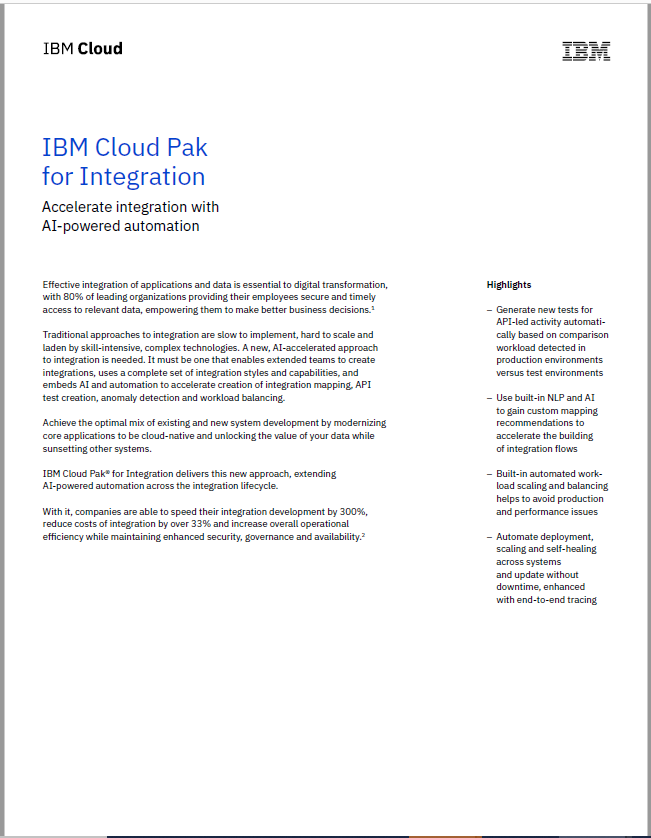 IBM Cloud Pak for Integration: Accelerate integration with AI-powered automation.pdf