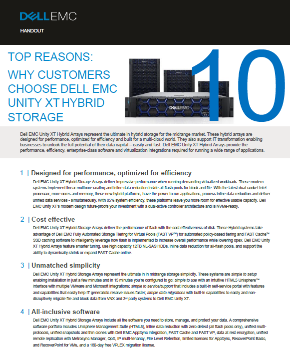 TOP REASONS: WHY CUSTOMERS CHOOSE DELL EMC UNITY XT HYBRID STORAGE -MY.pdf